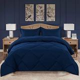 VENESSCO King Comforter Set, Down Alternative Quilted Comforter Duvet Insert for King Bed, Microfiber Bedding Comforter Sets with 2 Pillow Shams, All Season Reversible (King,Navy Blue)