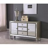 Best Master Furniture Berkley Glam Mirrored Dining Room Buffet/Sideboard, Silver