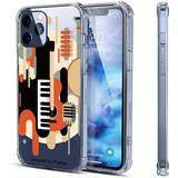 Vintage Musical Instrument Illustration iPhone Clear Case Compatible for 12 and 12 and iPhone 12 Pro Shockproof Protective Holder Covers Soft Rubber Bumper Phone Case Two Sizes