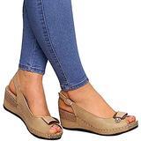 JHJUH Women's Wedge Platform Sandals Ladies Buckle Strap Wedge Platform Sandals Summer Hollow Out Summer Sandals Non-Slip Wedge Platform Shoes Beach,Brown,37