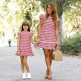 Mother And Daughter Dress - Fashion Red Short Sleeve Matching Family Dress Elegant Striped Mother Daughter Dress Short Sleeve Girl Big Sister Mom Child Family Matching Clothes Casual Party,Daughter