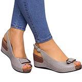 JHJUH Women's Wedge Platform Sandals Ladies Buckle Strap Wedge Platform Hollow Out Summer Non-Slip Wedge Platform Shoes Beach Sandals,Gray,39