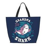 Grandma Shark One Shoulder Travel Bag Women Handbag Tote Bag Shoulder Bags Portable Satchel Bag
