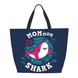 Mom Shark One Shoulder Travel Bag Women Handbag Tote Bag Shoulder Bags Portable Satchel Bag