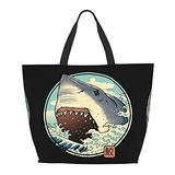 Shark Attack One Shoulder Travel Bag Women Handbag Tote Bag Shoulder Bags Portable Satchel Bag
