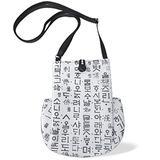Korean traditional design bag Pouch Mini bag Crossbody bag Casual bag Passport bag Adjustable strap length (white)