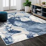Abani Rugs Blue & Beige Abstract Liquid Area Rug Contemporary Style, ARTO Collection   Turkish Made Superior Comfort & Construction   Stain Shedding Resistant (2x3, Blue, Beige)