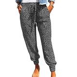 ROSKIKI Womens Plus Size Joggers Pants for Women with Pockets Comfy Leopard Print Drawstring Elastic Waist Sweatpants Workout Trousers Long Pants Gray 3X-Large