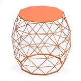 Adeco 18-inch Home Garden Wire Round Metal Stool, Decorative Accent Display Plant Stand, Side Table, End Table - Bohemian Chic Openwork Lattice Design, Orange