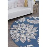 Matilda Navy 8 Foot Round Area Rug for Living, Bedroom, or Dining Room - Transitional, Floral