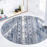 Rugs.com Oregon Collection Rug – 7 Ft Round Light Slate Blue Low-Pile Rug Perfect for Kitchens, Dining Rooms
