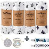 Bamboo Muslin Baby Swaddle Blanket Pack of 4 by Dodo Babies + 2 Pacifier Clips + Pacifier Case, Receiving Blanket for Boys and Girls, Large Size 47 x 47 inches Excellent Baby Shower/Registry Gift
