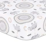 The Peanutshell Boho Elephant and Medallion Print Fitted Crib Sheet for Baby Boys or Baby Girls, Grey/White