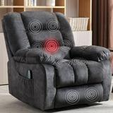 Red Barrel Studio® Manual Massage Recliner Chair w/ Heat & Vibration(Grey)Microfiber/Microsuede/Stain Resistant in Black | Wayfair