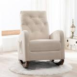Red Barrel Studio® Rocking Chair Modern Nursery Rocking Armchair Upholstered Tall Back Accent Glider Rocker For Living RoomSolid + Manufactured Wood/Wood/Velvet