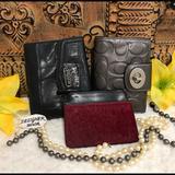 Coach Bags | Coach & Fossil 3 Piece Wallet Id Set Fair Cond. | Color: Black/Gray | Size: See Description