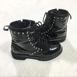 Disney Shoes | D-Signed Black Patent Leather Studs Combat Boots 3 | Color: Black/Silver | Size: 3g