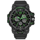 Dual Display Men's Digital Watch, Multifunctional Military Watch, Daily Sports, Large Dial Men's Wrist Watch (Green)