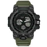 Dual Display Men's Digital Watch, Multifunctional Military Watch, Daily Sports, Large Dial Men's Wrist Watch (Army Green)
