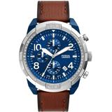 Bronson Chronograph Movement, Brown Leather Watch 50mm - Brown - Fossil Watches