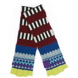 Striped Fair Isle Cashmere Wool Fingerless Gloves - Blue - Burberry Gloves