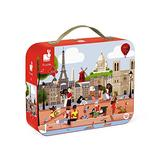 Janod 200 Piece Paris Jigsaw Floor Puzzle – Mini Suitcase Style Box for Organized Storage – Cognitive, Imaginative, Educational and Developmental Play – Montessori, STEM Learning - Ages 7+