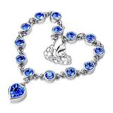 QWKLNRA Women's Bracelet Women's Exquisite Classic Fashion Sweet Love Heart Shiny Blue Rhinestone Bracelet Bangle Handmade Sliver Color Bracelet for Girl Jewelry