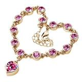 QWKLNRA Women's Bracelet Women's Exquisite Classic Fashion Sweet Love Heart Shiny Pink Rhinestone Bracelet Bangle Handmade Bracelet for Girl Jewelry