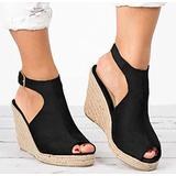 WODETIAN Women Wedges Platform Sandals Solid Wedges Casual Buckle Strap Roman Shoes Sandals Thick-Soled Height Increase Wedge Sandal Spring Summer Beach Sandals Heel Sandals,Black,37