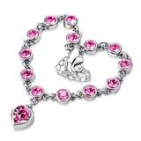 QWKLNRA Women's Bracelet Women's Exquisite Classic Fashion Sweet Love Heart Shiny Pink Rhinestone Bracelet Bangle Handmade Sliver Color Bracelet for Girl Jewelry