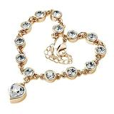 QWKLNRA Women's Bracelet Women's Exquisite Classic Fashion Sweet Love Heart Shiny Rhinestone Bracelet Bangle Handmade Gold Color Bracelet for Girl Jewelry