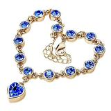 QWKLNRA Women's Bracelet Women's Exquisite Classic Fashion Sweet Love Heart Shiny Blue Rhinestone Bracelet Bangle Handmade Gold Color Bracelet for Girl Jewelry