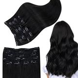 RUNATURE Clip in Hair Extensions Real Human Hair Off Black Hair Extensions Real Hair Clip in 20 Inch Remy Clip in Hair Extensions 100g Hair Extensions Real Hair Clip in 9pcs Clip in Hair Extensions