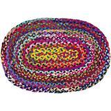 Jaipur Handloom Cotton Area Rug Rag Rug Bohemian Multicolor Hand Braided Reversible Chindi Rug Rag Recycled Floor Rug (2x3 Feet Cotton Multi Chindi (Oval), Multi Color)