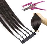 ANIUXIAOGE 6D Hair Extensions Tool Kit 2 gen with Remover Tool, 10Rows Quick No-Trace Easy Connection Human Hair Extensions for Hair Wig,5 Teeth Hair,50cm/20in