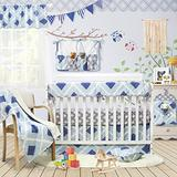 Brandream Nautical Crib Bedding Sets for Boys Baby Nursery Bedding Set with Long Rail Cover 100% Breathable Cotton