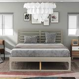 Queen Bed Frame, Queen Size Bed Frame with Headboard, Wooden Queen Platform Bed Frame for Kids, Teens and Adults, Gray