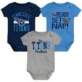 Newborn & Infant Navy/Light Blue/Heathered Gray Tennessee Titans Ready Set Nap Three-Pack Bodysuit