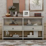 Longshore Tides Rustic Console Table Sofa Table (Antique White) Wood in Gray, Size 32.0 H x 57.9 W x 14.0 D in | Wayfair