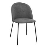 Corrigan Studio® Dark Grey Fabric Dining Chair Kitchen/Living Room Chairs, 2 Per Set, Modern Style Side Chairs w/ Metal Legs, Used For Makeup & Li