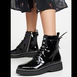 Michael Kors Shoes | Michael Kors Haskell Patent Leather Combat Boots | Color: Black | Size: 10