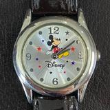 Disney Jewelry | Mickey Mouse Star Leather Band Disney Ladies Watch | Color: Black/Blue/Red/Tan | Size: Os
