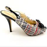 Kate Spade Shoes | Kate Spade Gabby Tweed Sling Back Heels | Color: Black/Blue/Red/White | Size: 8.5