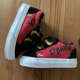 Vans Shoes   El Barto Baby Vans Velcro Strap Sneakers   Color: Black/Red   Size: 4bb