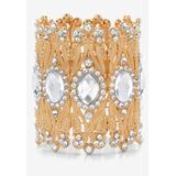Plus Size Women's Goldtone Oval-Cut and Round Crystal Stretch Wide Cuff Bracelet by PalmBeach Jewelry in Gold