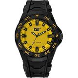 CAT Motion 2020 Black Men Watch, 45.5 mm case, Polycarbonate case, Black Rubber Strap, Yellow/Black dial (LH.110.21.727) (Yellow/Black)