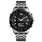 VIGOROSO Mens Watches Outdoor Sport Army Military Pedometer Calorie Thermometer Compass Travel Analog Digital Date Quartz Wrist Watch Stopwatch Alarm (Silver)