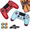 U/C 2 Pack Wireless Controller für PS4, Fernbedienung für Sony PlayStation 4 mit Doppelschock, Geschenk für Freund, Freundin, Kinder und Freunde, Beerenblau + Rot