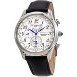 Chronograph Perpetual Alarm Quartz White Dial Mens Watch - Metallic - Seiko Watches