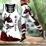 Bull terrier red tattoos legging and hollow tank combo DD08212001, Hollow Tank top and Legging Set, 3D Legging, Woman Legging, Gym Legging, Set For Yoga, Sport Women's Clothing